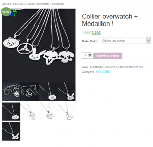 Collier médaillon pendentif overwatch